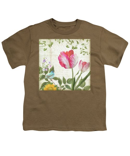 Les Magnifiques Fleurs IIi - Magnificent Garden Flowers Parrot Tulips N Indigo Bunting Songbird Youth T-Shirt by Audrey Jeanne Roberts