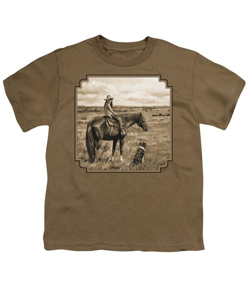 Little Cowgirl On Cattle Horse In Sepia Youth T-Shirt by Crista Forest