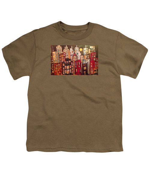 Lively City Skyline Youth T-Shirt by Roxy Rich