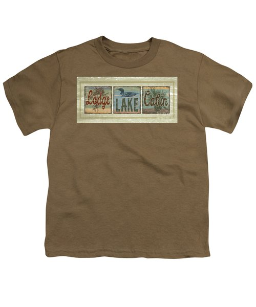 Lodge Lake Cabin Sign Youth T-Shirt by Joe Low