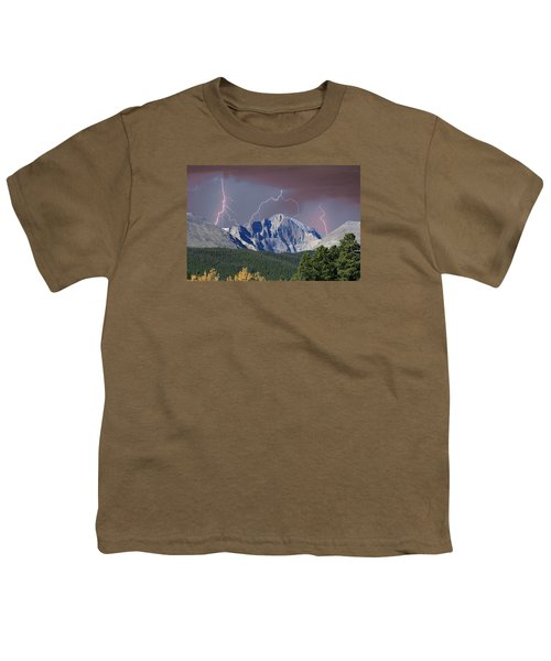 Longs Peak Lightning Storm Fine Art Photography Print Youth T-Shirt by James BO  Insogna