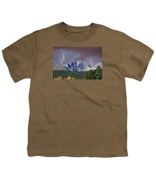 Longs Peak Lightning Storm Fine Art Photography Print Youth T-Shirt