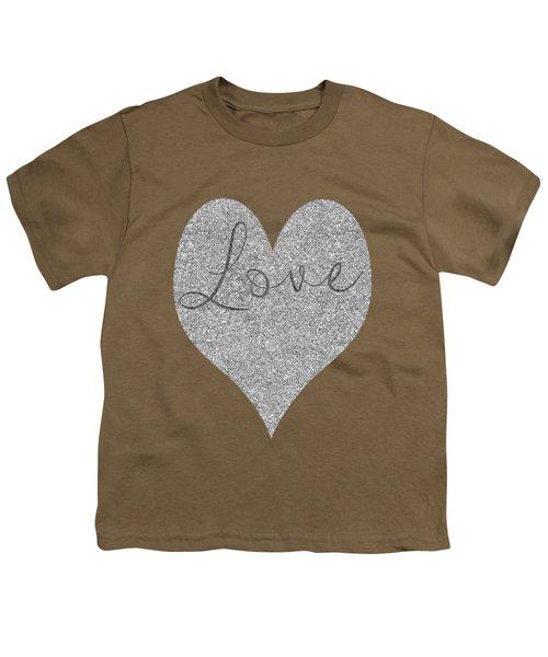 Love Heart Glitter Youth T-Shirt