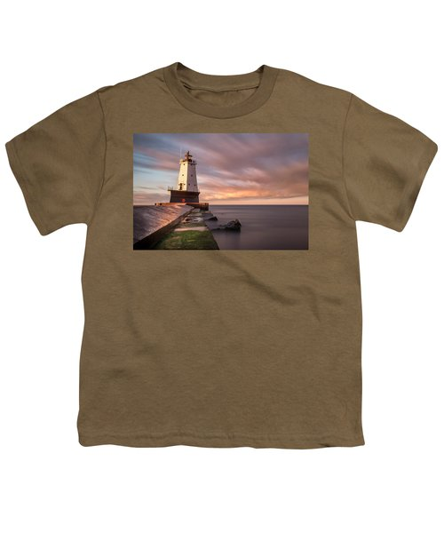 Youth T-Shirt featuring the photograph Ludington Light Sunrise Long Exposure by Adam Romanowicz