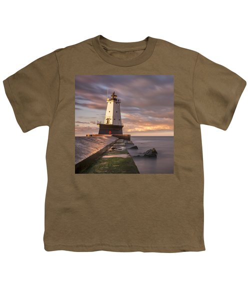 Youth T-Shirt featuring the photograph Ludington North Breakwater Light At Dawn by Adam Romanowicz