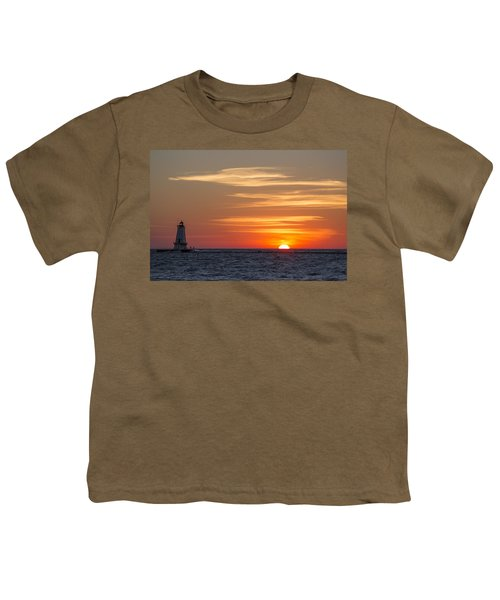 Youth T-Shirt featuring the photograph Ludington North Breakwater Light At Sunset by Adam Romanowicz