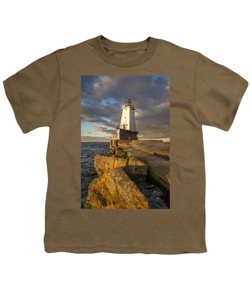 Youth T-Shirt featuring the photograph Ludington North Breakwater Lighthouse At Sunrise by Adam Romanowicz