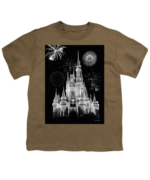 Magic Kingdom Castle In Black And White With Fireworks Walt Disney World Mp Youth T-Shirt