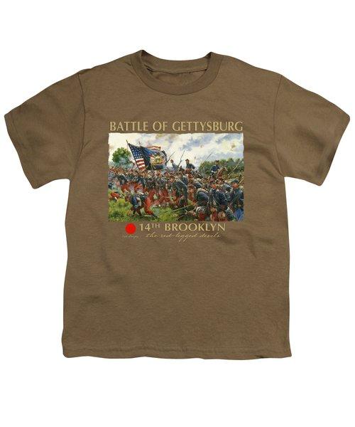 Men Of Brooklyn - The 14th Brooklyn 14th N.y.s.m. Charge On The Railrad Cut - Battle Of Gettysburg Youth T-Shirt