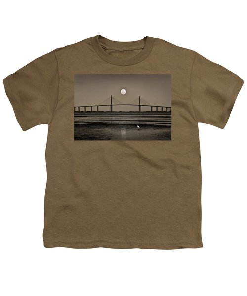 Moonrise Over Skyway Bridge Youth T-Shirt