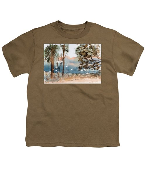 Mt Field Gum Tree Silhouettes Against Salmon Coloured Mountains Youth T-Shirt