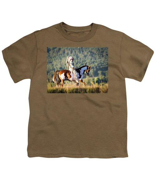 Native American On His Paint Horse Youth T-Shirt