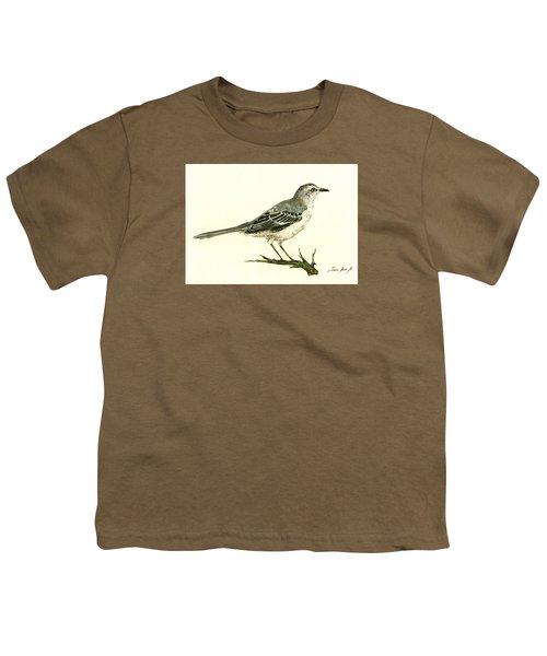 Northern Mockingbird Youth T-Shirt by Juan  Bosco