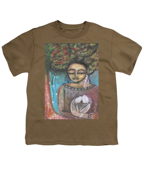 Youth T-Shirt featuring the mixed media Nurture Nature by Prerna Poojara