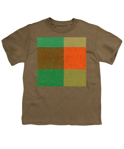 Orange With Brown And Teal Youth T-Shirt by Michelle Calkins