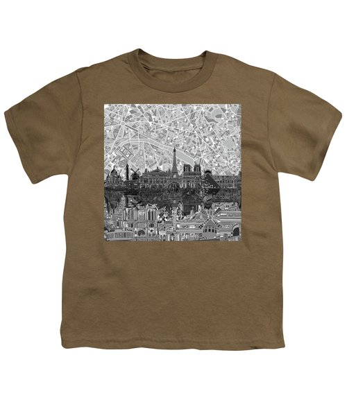 Paris Skyline Black And White Youth T-Shirt