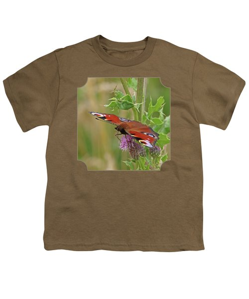 Peacock Butterfly On Thistle Square Youth T-Shirt