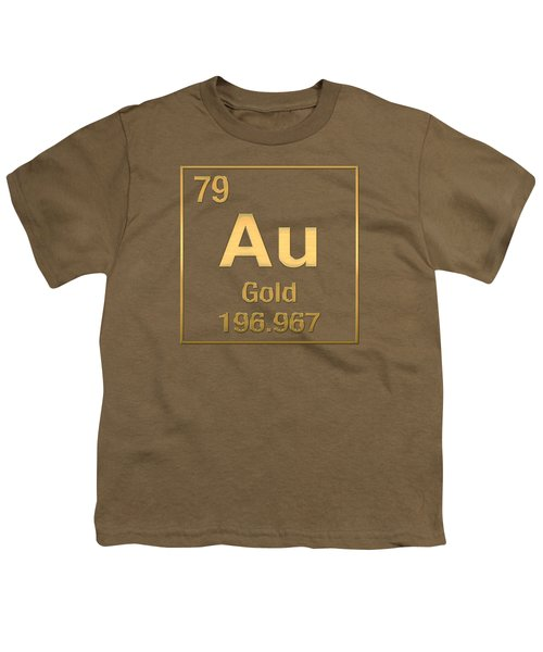 Periodic Table Of Elements - Gold - Au - Gold On Gold Youth T-Shirt
