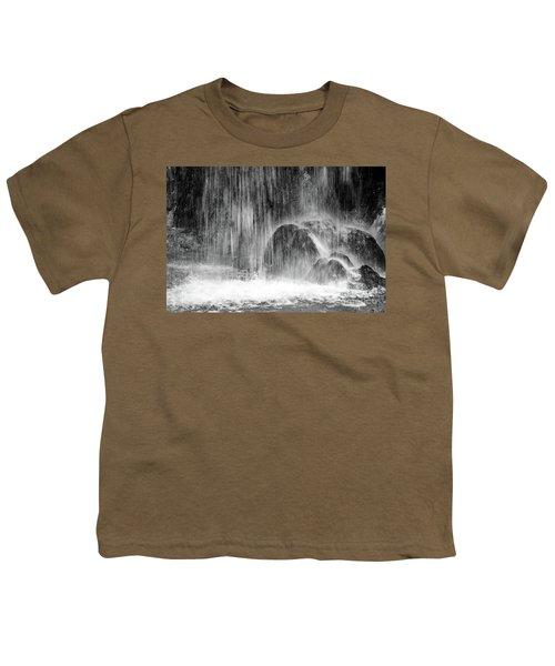 Plitvice Waterfall Black And White Closeup - Plitivice Lakes National Park, Croatia Youth T-Shirt