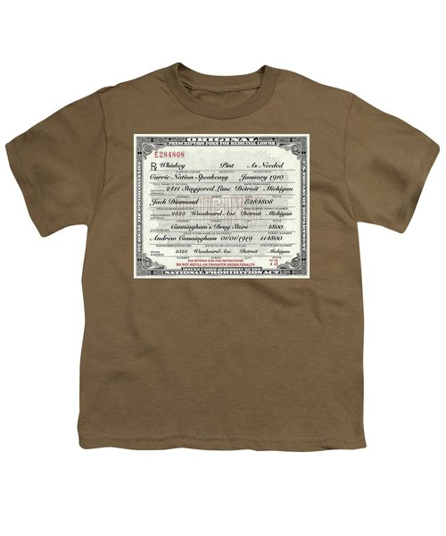 Youth T-Shirt featuring the photograph Prohibition Prescription Certificate Carrie Nation Speakeasy by David Patterson