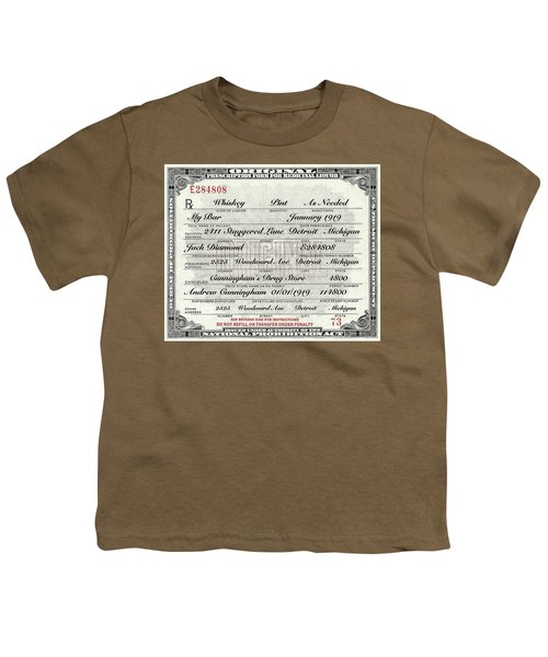 Youth T-Shirt featuring the photograph Prohibition Prescription Certificate My Bar, by David Patterson