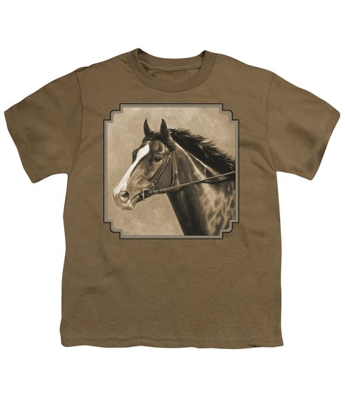Racehorse Painting In Sepia Youth T-Shirt by Crista Forest