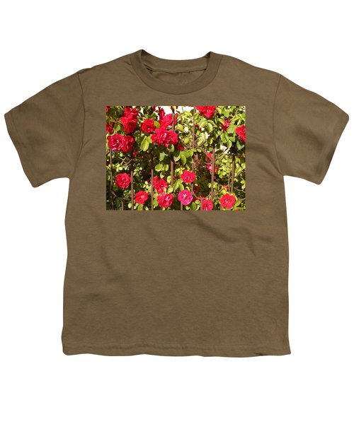 Red Roses In Summertime Youth T-Shirt by Arletta Cwalina