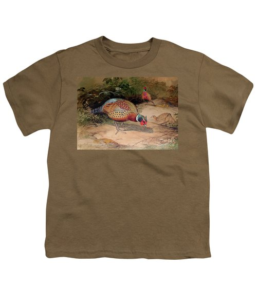 Ring Necked Pheasant Youth T-Shirt by Joseph Wolf