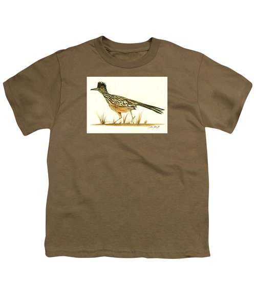 Roadrunner Bird Youth T-Shirt by Juan Bosco
