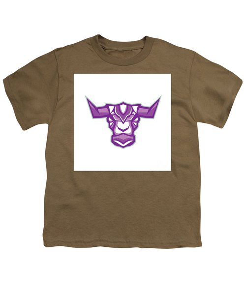 Robot Yak Bull Head Front Youth T-Shirt