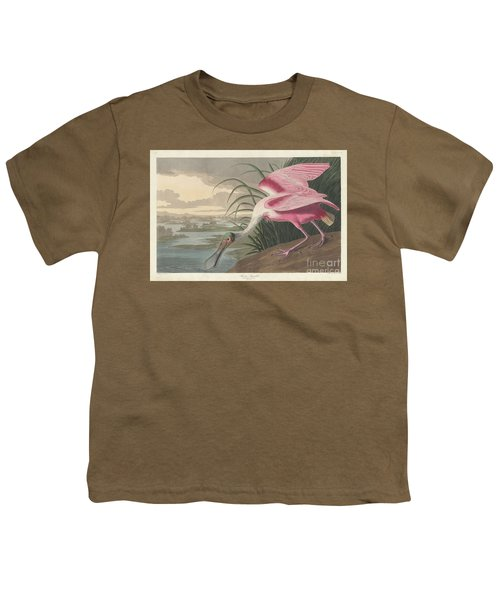 Roseate Spoonbill, 1836  Youth T-Shirt by John James Audubon