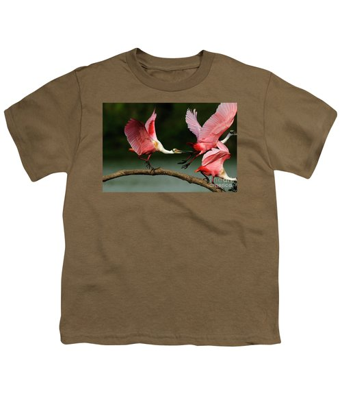 Rosiette Spoonbills Lord Of The Branch Youth T-Shirt by Bob Christopher