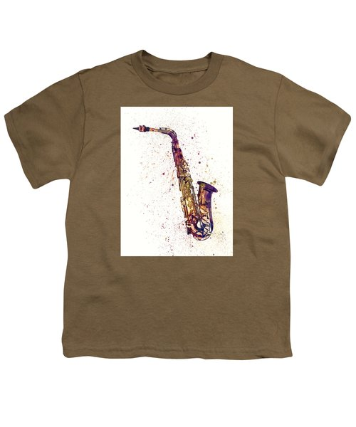 Saxophone Abstract Watercolor Youth T-Shirt