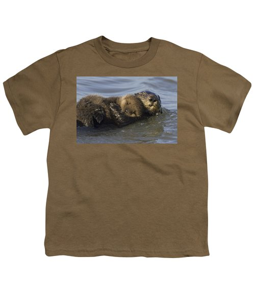Sea Otter Mother With Pup Monterey Bay Youth T-Shirt by Suzi Eszterhas