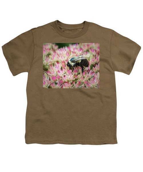 Youth T-Shirt featuring the photograph Sedum Bumbler by Bill Pevlor