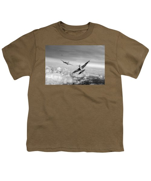 Youth T-Shirt featuring the photograph Spitfire Attacking Heinkel Bomber Black And White Version by Gary Eason