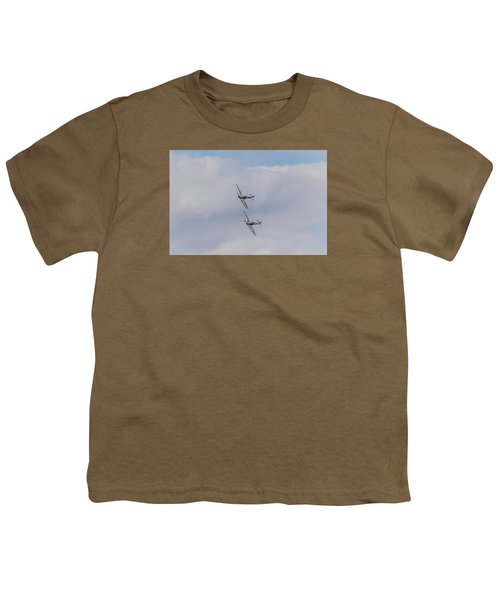 Spitfire Formation Pair Youth T-Shirt by Gary Eason