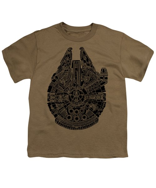 Star Wars Art - Millennium Falcon - Black Youth T-Shirt by Studio Grafiikka