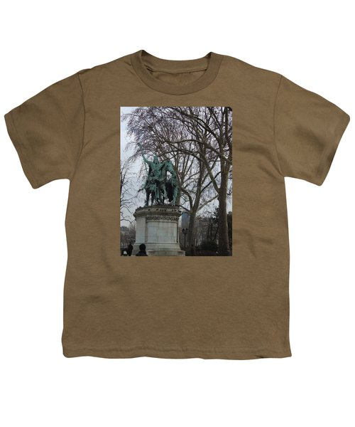 Statue At Notre Dame Youth T-Shirt by Roxy Rich