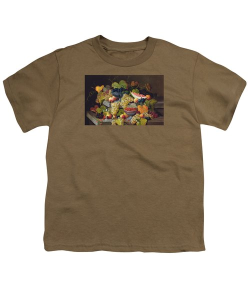 Still Life Of Melon Plums Grapes Cherries Strawberries On Stone Ledge Youth T-Shirt