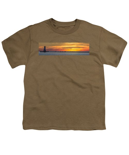 Youth T-Shirt featuring the photograph Sunset Over Ludington Panoramic by Adam Romanowicz