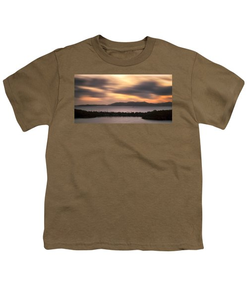 Youth T-Shirt featuring the photograph Sunset Over St. John And St. Thomas Panoramic by Adam Romanowicz