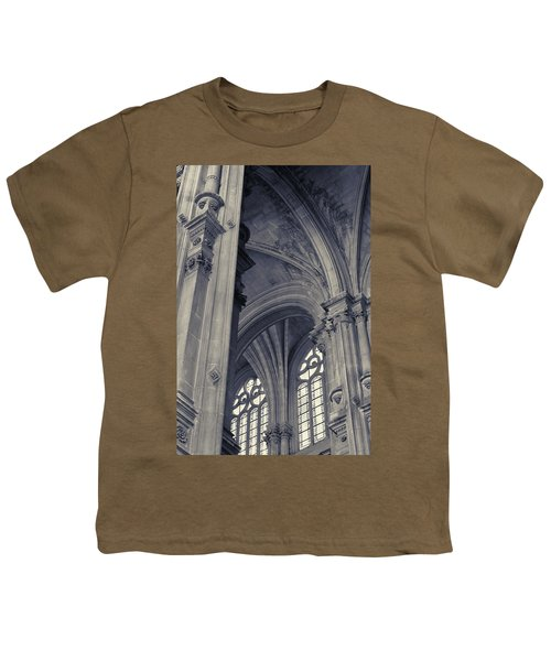 Youth T-Shirt featuring the photograph The Columns Of Saint-eustache, Paris, France. by Richard Goodrich