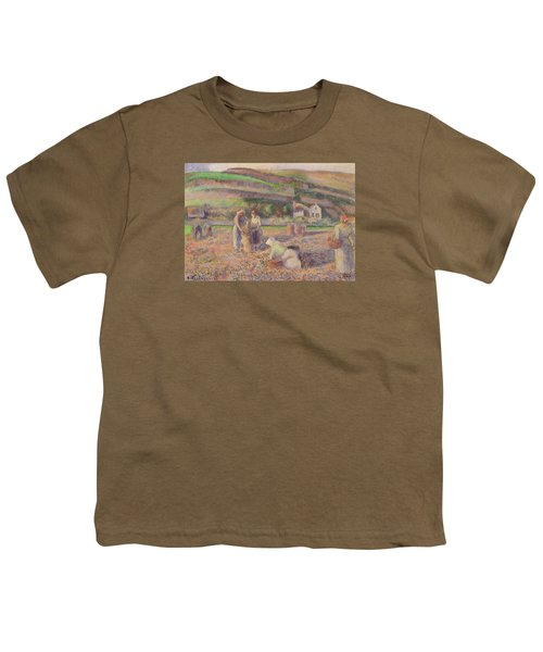 The Potato Harvest Youth T-Shirt by Camille Pissarro