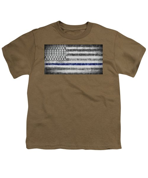 Youth T-Shirt featuring the digital art The Thin Blue Line American Flag by JC Findley