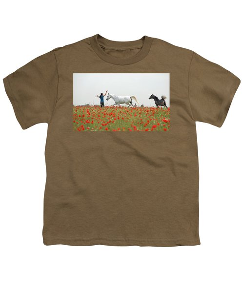 Three At The Poppies' Field Youth T-Shirt by Dubi Roman