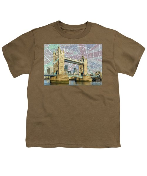 Youth T-Shirt featuring the digital art Tower Bridge With Union Jack by Adam Spencer