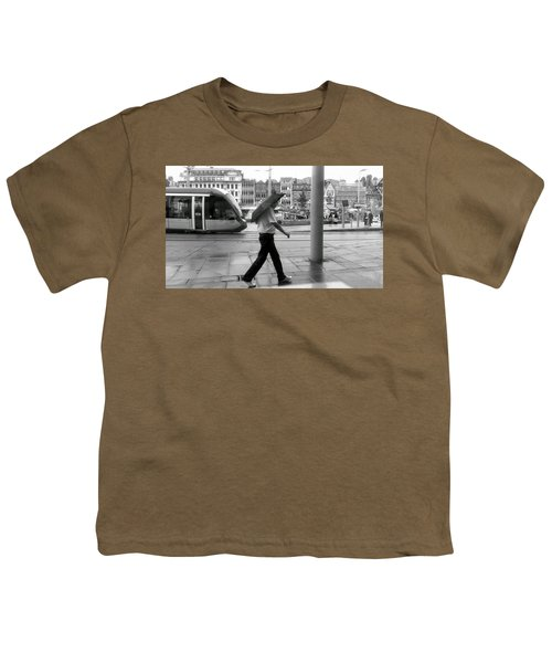 Tram In Rainy City Youth T-Shirt