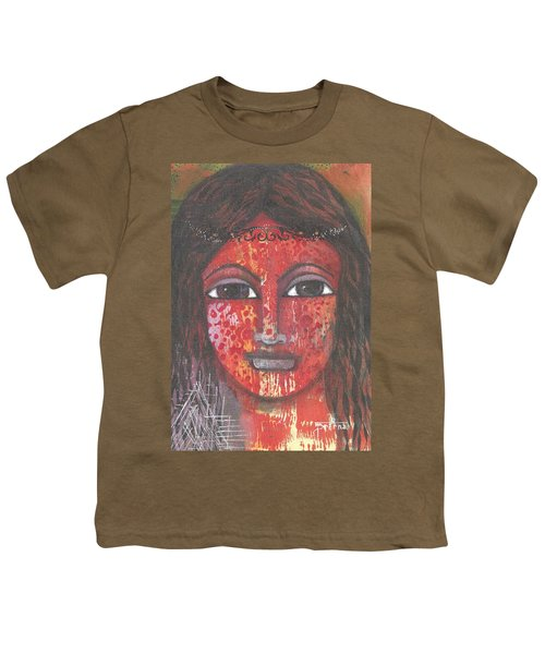 Youth T-Shirt featuring the mixed media Tribal Woman by Prerna Poojara