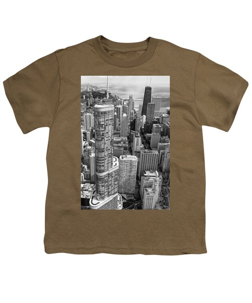 Youth T-Shirt featuring the photograph Trump Tower And John Hancock Aerial Black And White by Adam Romanowicz